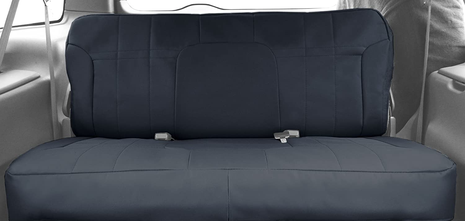 DuraPlus CalTrend Front Row 40//20//40 Split Bench Custom Fit Seat Cover for Select Dodge Models Charcoal Insert and Black Trim