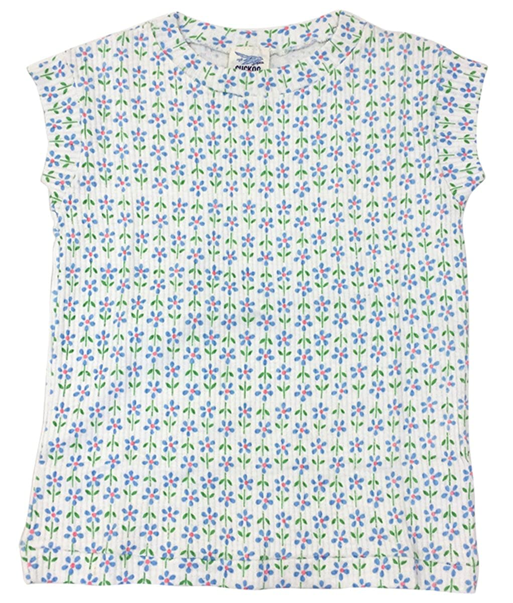Cuckoo Girls T-Shirt Authentic Vintage Daisy Print Cap Sleeve Ribbed Top Sizes from 6 to 10 Years