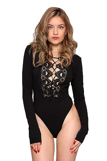 Aarzoo Body Manches Longues avec Dentelle en Crochet Femme  Amazon.fr   Vêtements et accessoires 3b376246fa5