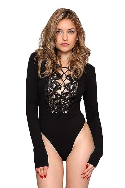 4b8a7f0b43 Aarzoo Women s Crochet Lace Up Long Sleeve Bodysuit  Amazon.co.uk ...