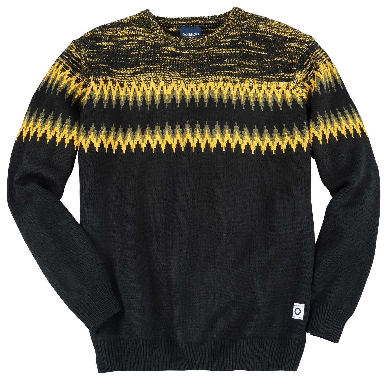 North Klassischer Norweger Pullover schwarz_099 3XL: Amazon