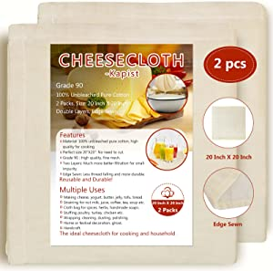 """Cheesecloth,Grade 90, 2 PCS 20""""X20"""", 2 Layers, Edge Sewn, 100% Unbleached Cotton Cloth for Straining, Cheese,Yogurt, Nut Milk, Juice Making, Food Strainer, Stuffing Turkey, Cooking, Reusable"""