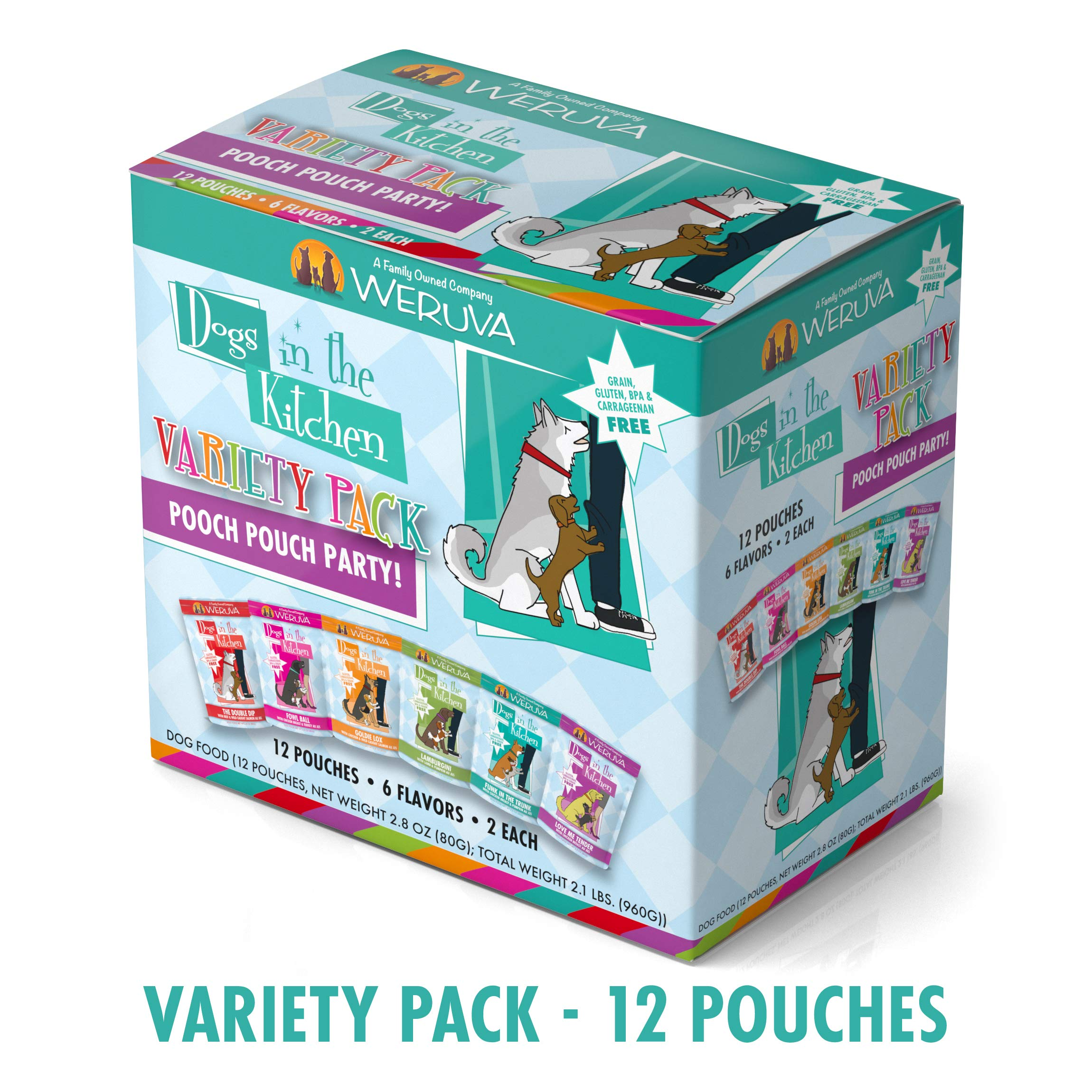 Weruva Dogs In The Kitchen, Variety Pack, Pooch Pouch Party!, Wet Dog Food, 2.8Oz Pouches (Pack Of 12) by Weruva