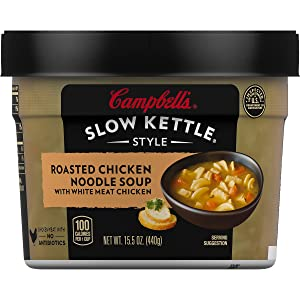 Campbell'sSlow Kettle Style Roasted Chicken Noodle Soup with White Meat Chicken, 15.5 oz. Tub (Pack of 8)
