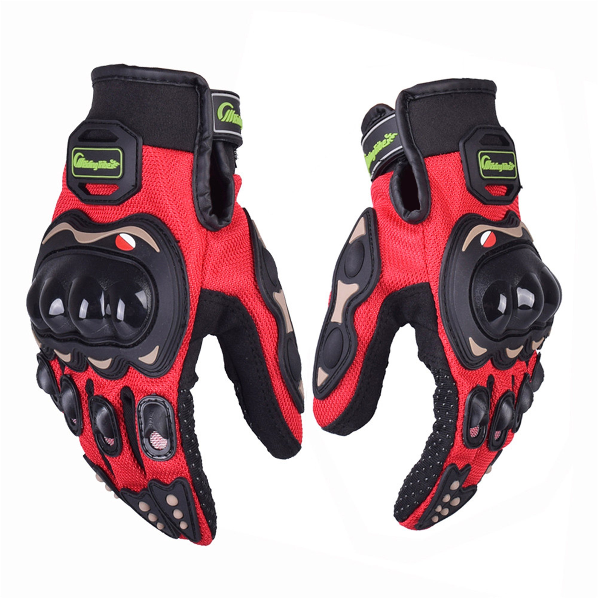 Protective Motorcycle Gloves Powersport Cycling Mountain Bike Men Women Gloves 01G (L, Red)