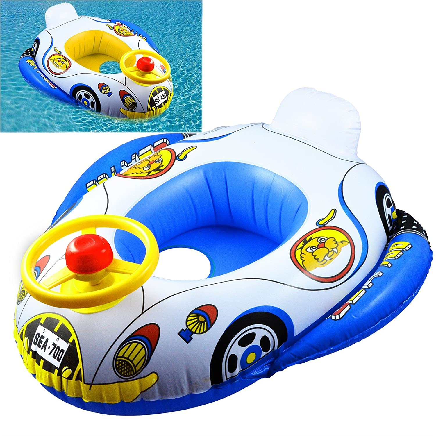 INFLATABLE CAR BABY FLOAT SEAT BOAT BEACH CAR WATER SWIMMING POOL ...