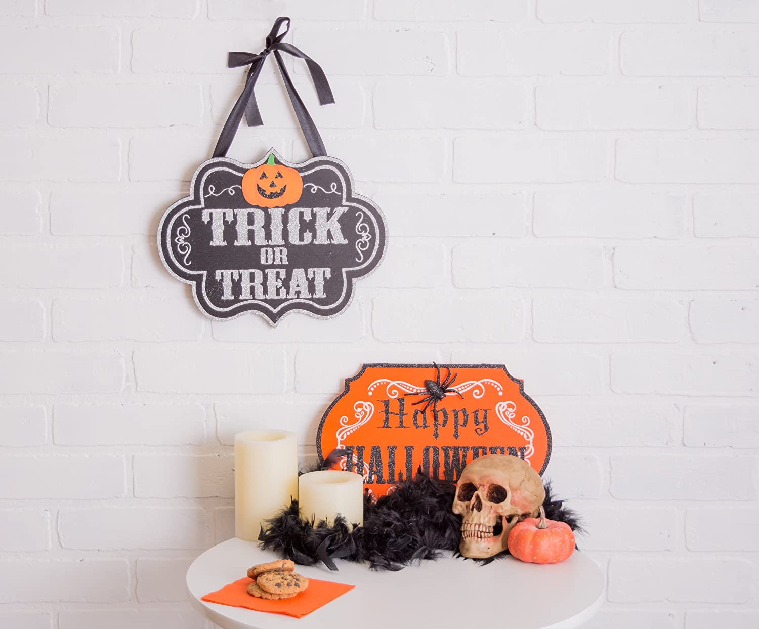 DII Indoor and Outdoor Wood Fall Halloween Hanging Door Decorations and Wall Signs Set of 2 - Trick or Treat & Happy Halloween