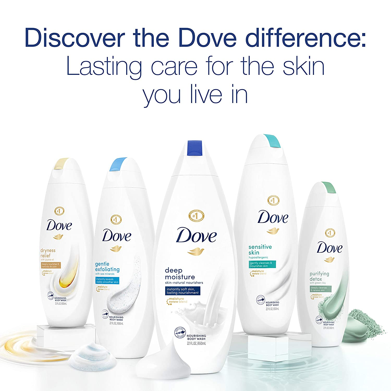 Dove Body Wash For Soft Skin Purifying Detox Cleanser That Effectively Washes Away Bacteria While Nourishing Your Skin 22 oz 4 count : Beauty