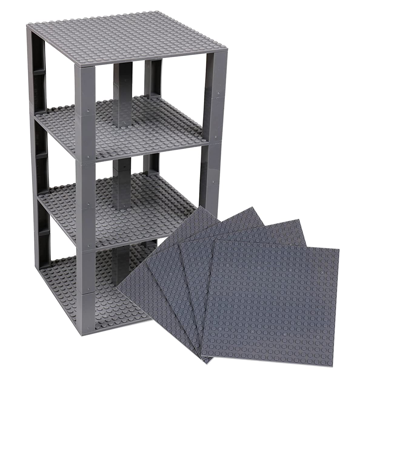 """Strictly Briks Classic Baseplates 6"""" x 6"""" Brik Tower 100% Compatible with All Major Brands   Building Bricks for Towers and More   4 Gray Stackable Base Plates & 30 Stackers"""
