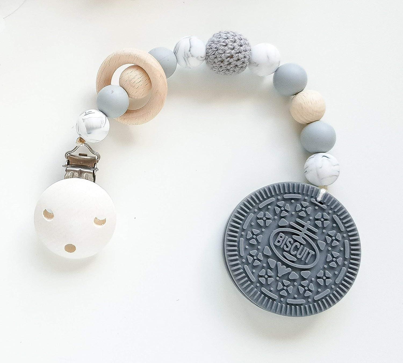 Beißkette Cookie in Grau und Mamor Zahnungshilfe für Babys