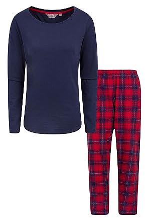 ce86ae0891 Mountain Warehouse Womens Flannel Pyjama Set - Short Sleeve Tee Nightwear,  Easy Care Ladies PJs