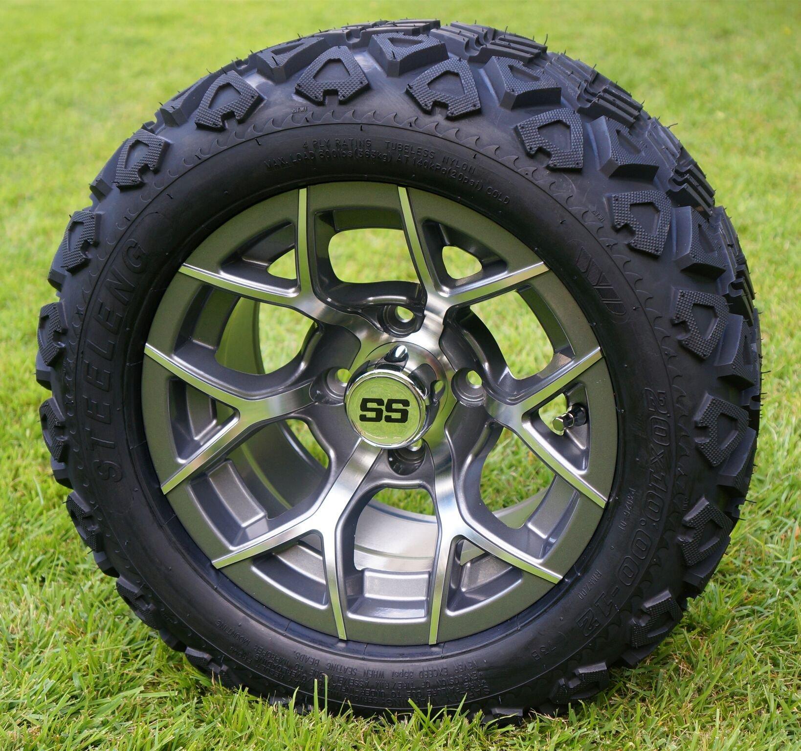 12'' RALLY Gunmetal Golf Cart Wheels and 20x10-12 DOT All Terrain Golf Cart Tires - Set of 4 - NO LIFT REQUIRED (read description)