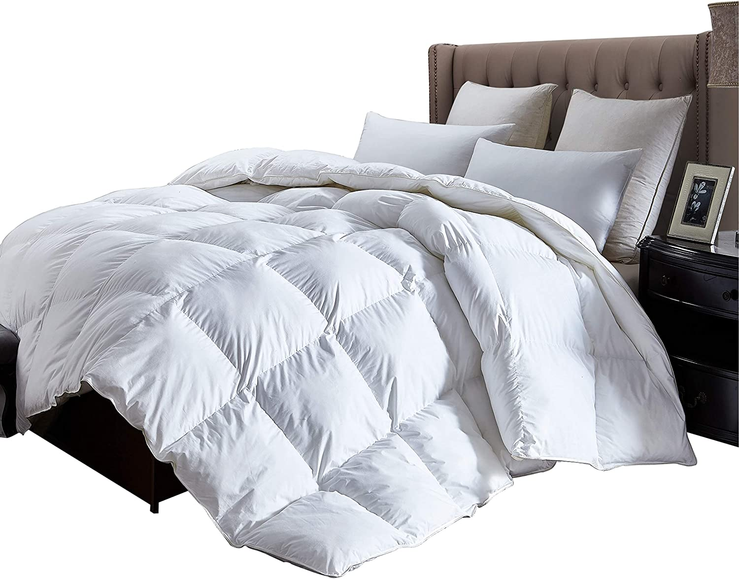 Luxurious Queen Size Lightweight GOOSE DOWN Comforter Duvet Insert All Season, 1200 Thread Count 100% Egyptian Cotton, 750+ Fill Power, 38 oz Fill Weight, Hypoallergenic, White Color