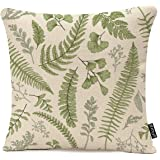 Throw Pillow Cover Green Leaf Floral in Vintage Style Leaves and Herbs Botanical Boxwood Seeded Eucalyptus Fern…