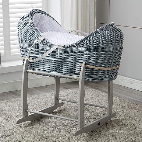 Mcc® Moisés vaina cesta para Bebé recién nacido cesta de mimbre Cocoon gris con sábanas blancas en 100% algodón Waffle y colchón (color gris)