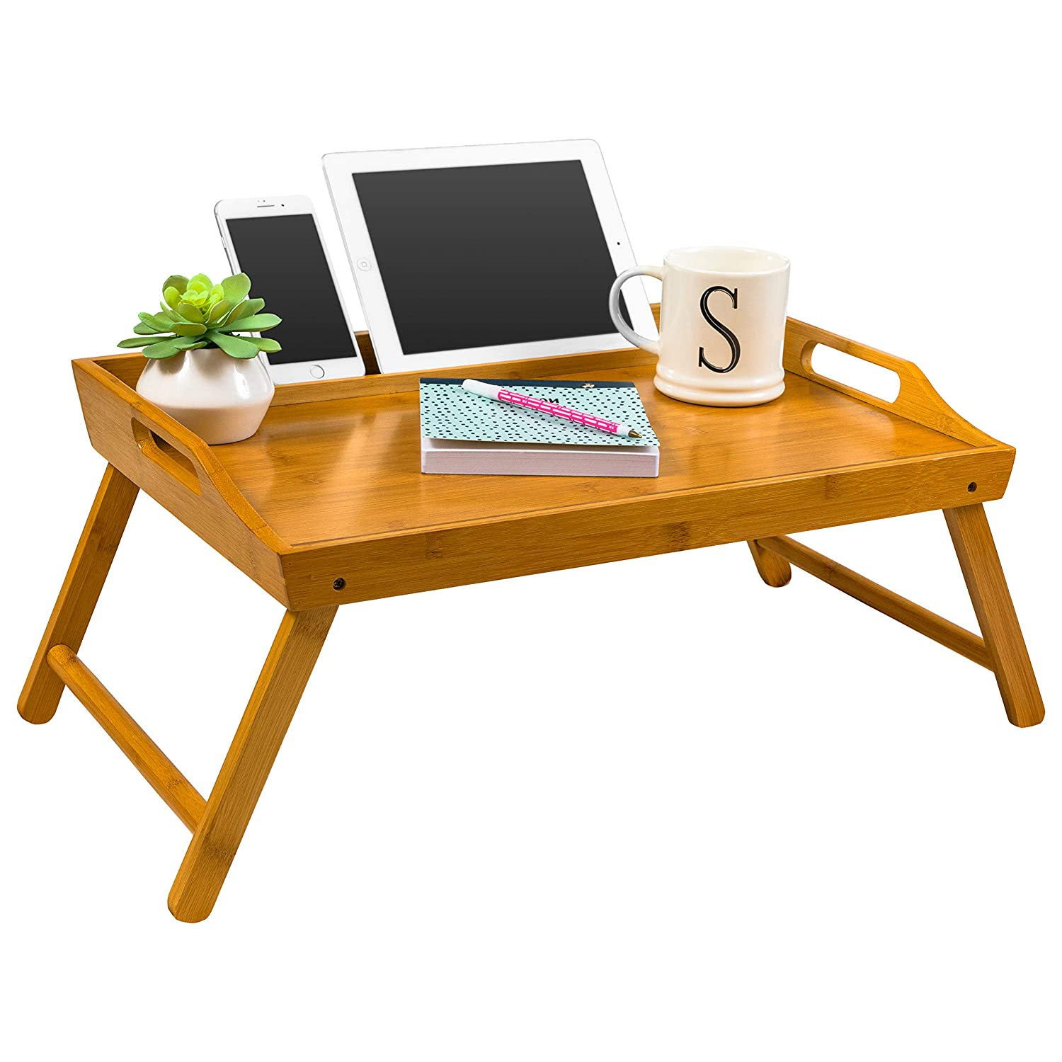 "LapGear Media Bed Tray/Breakfast Table/Lap Desk - Natural Bamboo (Fits up to 17"" Laptop)"