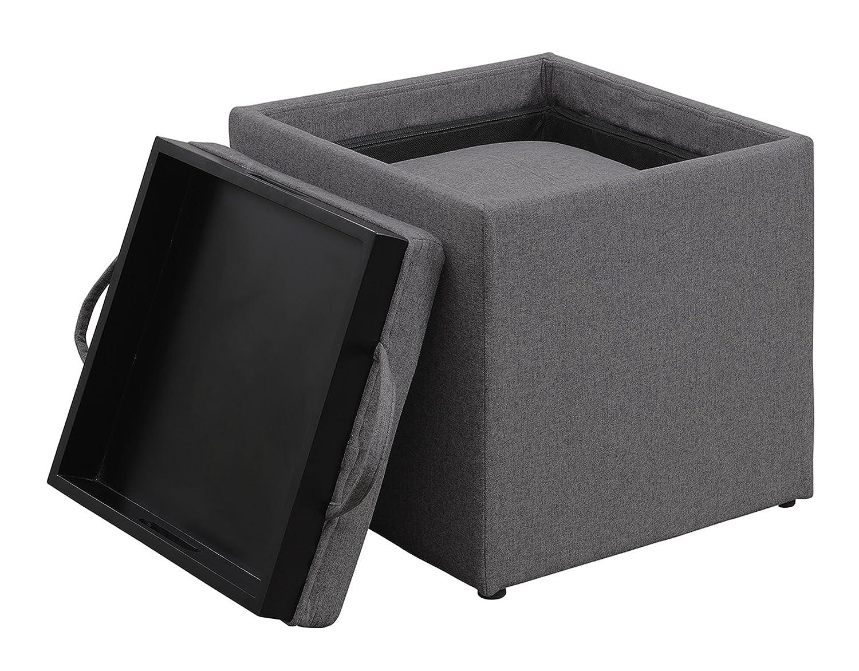 Convenience Concepts Designs4Comfort Park Avenue Single Ottoman with Stool Black