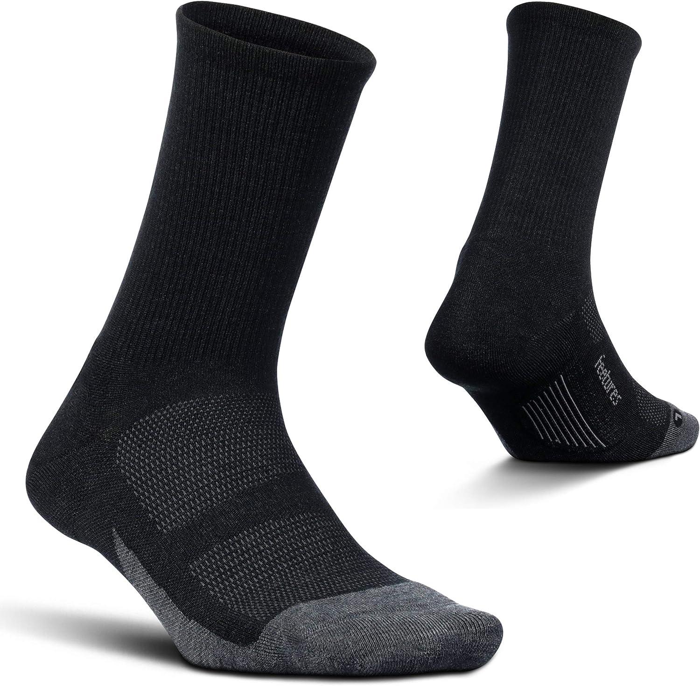 Feetures Unisex Merino 10 Cushion No Show Tab Sock Medium, Charcoal