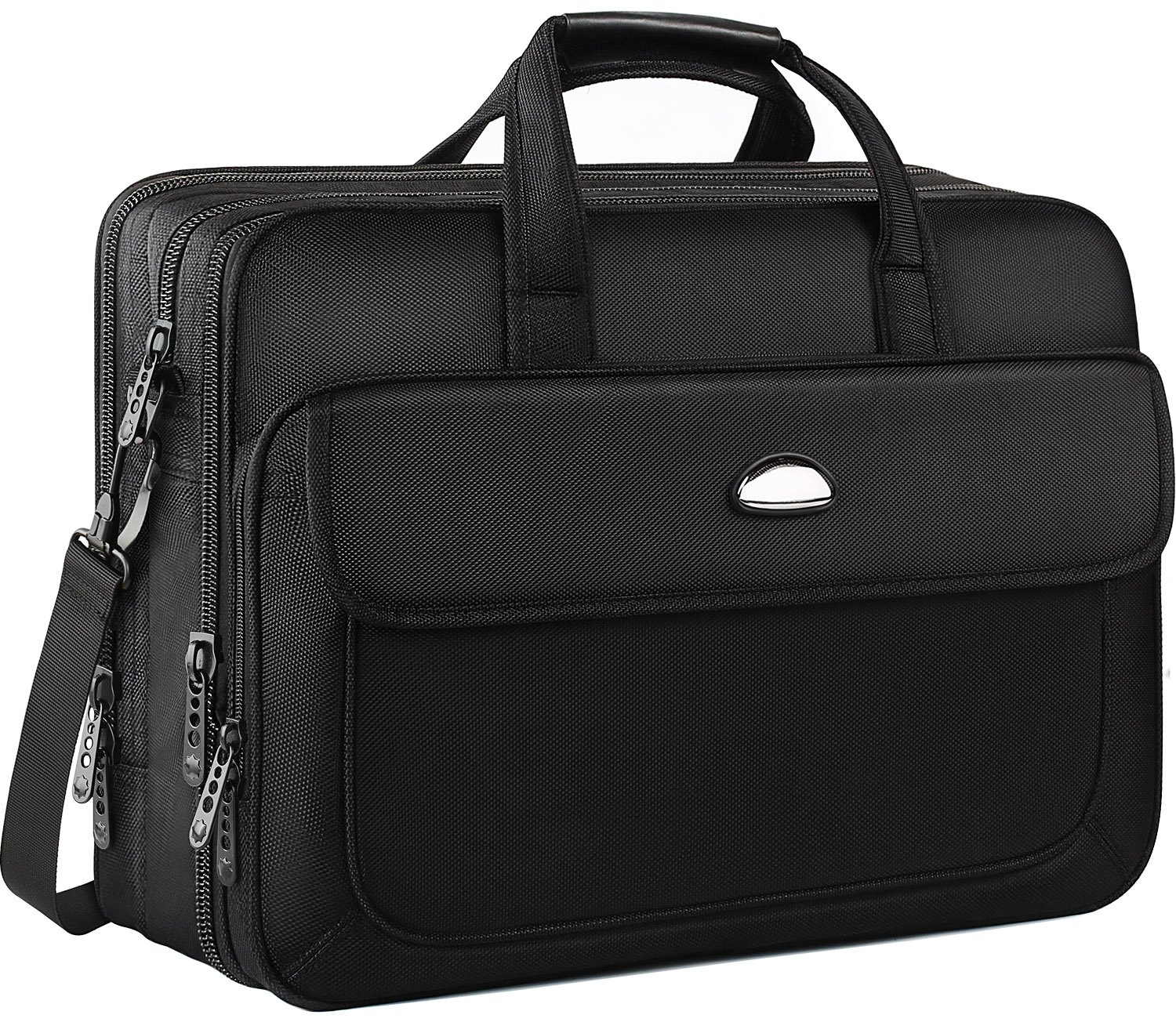 17 inch Laptop Bag, Business Travel Bag for Men Women, Expandable Large Hybrid Shoulder Bag, Water Resisatant Carrying Case Fits 15.6 Inch Laptop, Computer, Tablet Notebook, Ultrabook-Black