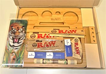 RAW (Madera de Bambú Rolling bandeja con productos de Raw Deal con 3d Bookmark regalo