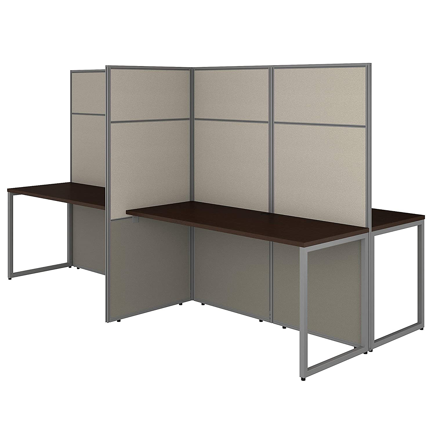 Bush Business Furniture EODH660MR-03K Easy Office 4 Person Cubicle Desk Workstation with 66H Panels, 60Wx60H, Mocha Cherry