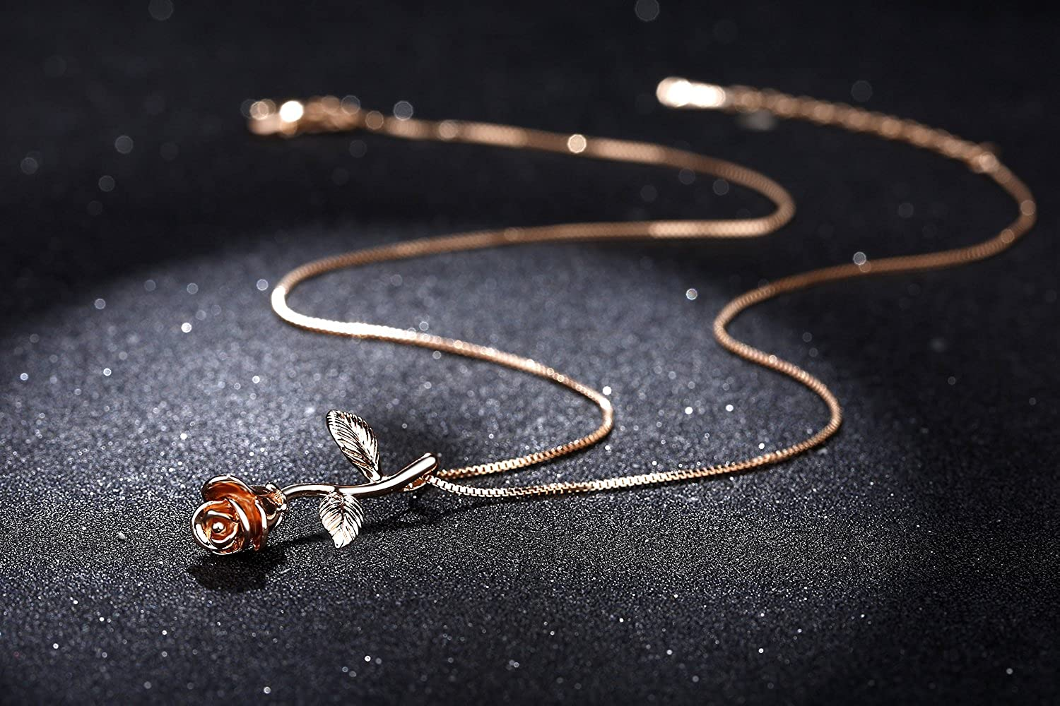 Gardeners Necklace Perfect For Mothers Day 14K Gold Plated Rose Flower Pendant Necklace Rose Gold Plated Beauty and the Beast Rose Jewelry Birthday and Christmas Romantic Rose Gift For Women