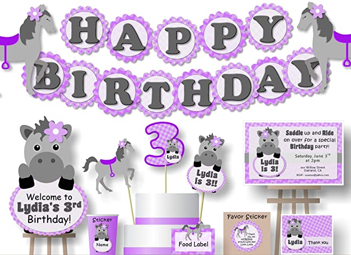 Amazon Com Personalized Purple Little Pony Horse Birthday Party Or