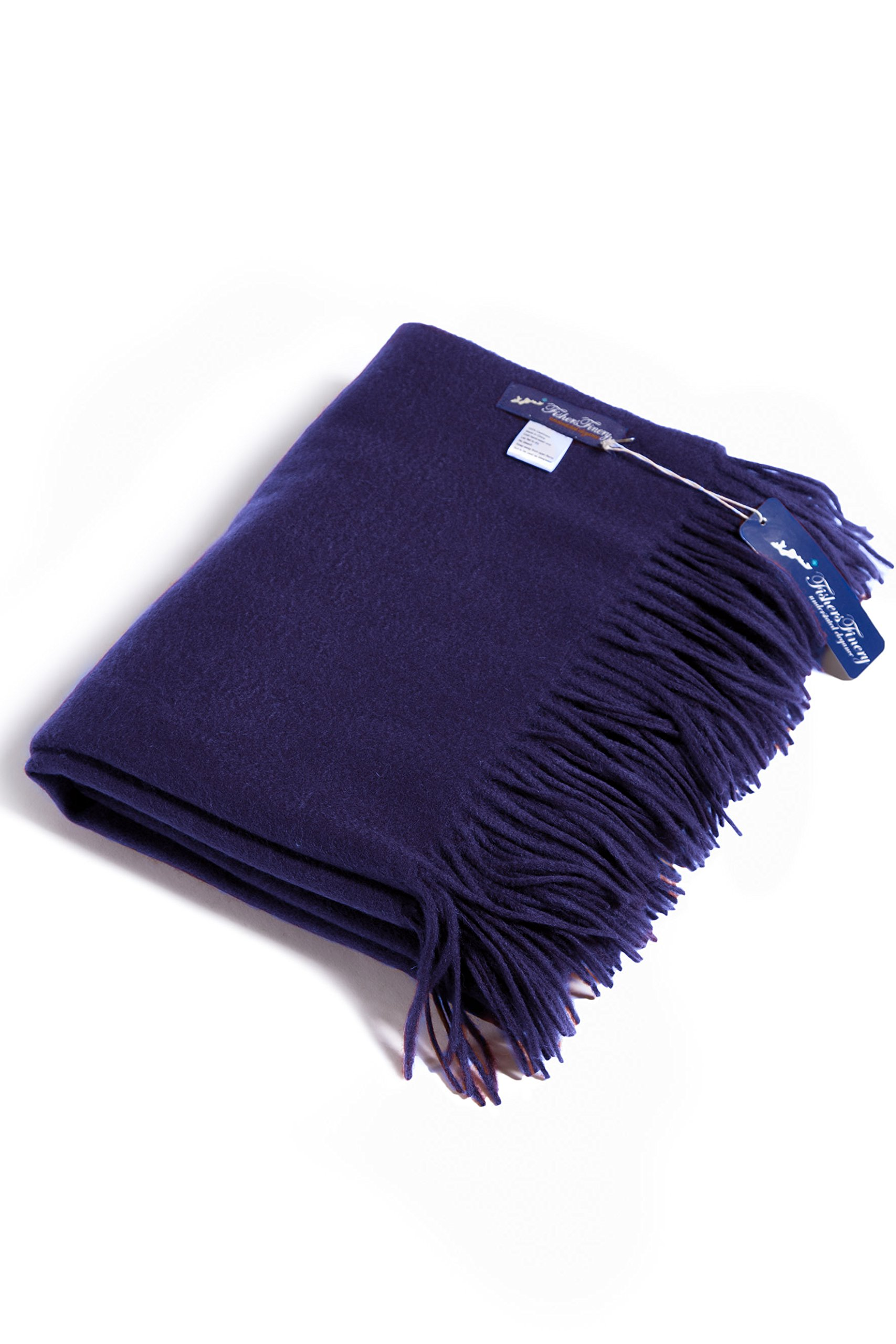 Fishers Finery 100% Pure Cashmere Winter Fringe Throw Blanket (Navy)