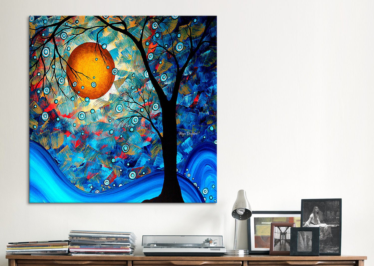 iCanvasART MDN53 Blue Essence by Megan Duncanson Canvas Print 18 by 18-Inch 0.75-Inch Deep