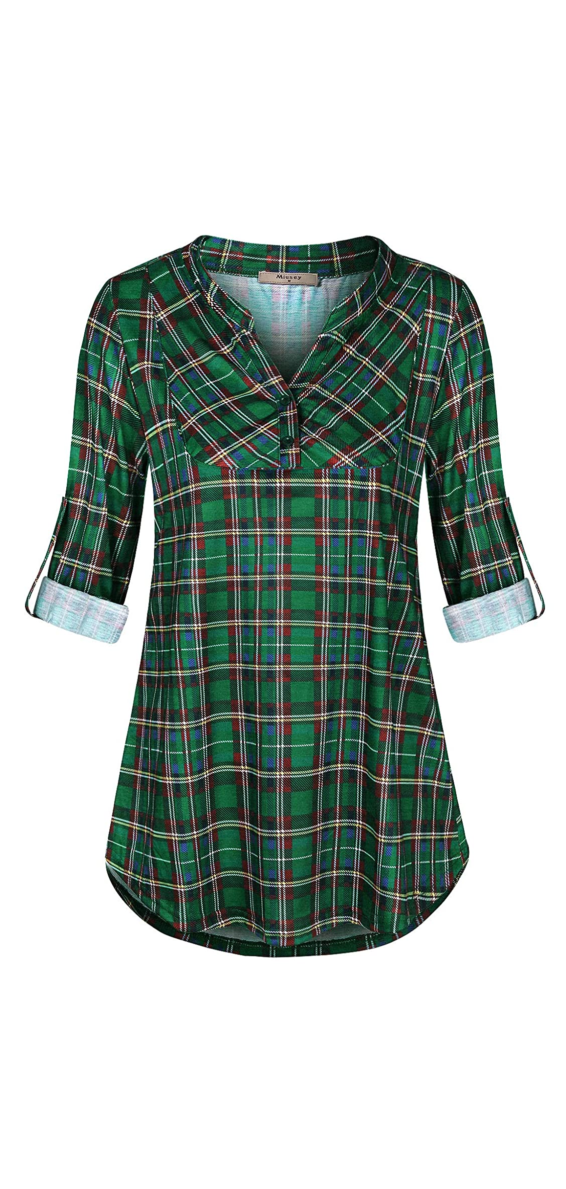 Womens Mandarin Collar Plaid Roll Sleeve V Neck Flowy