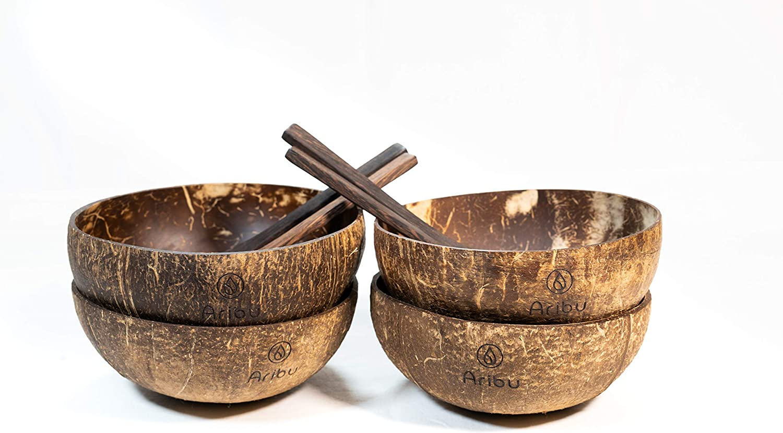 Kokosn/üsse Servierschalen Umweltfreundlich Vegan Poliert mit extra nativem Kokos/öl AribuOrganics Schalen aus Kokosnuss L/öffel Coconut Bowls 100/% Nat/ürlich /& Biologisch abbaubar
