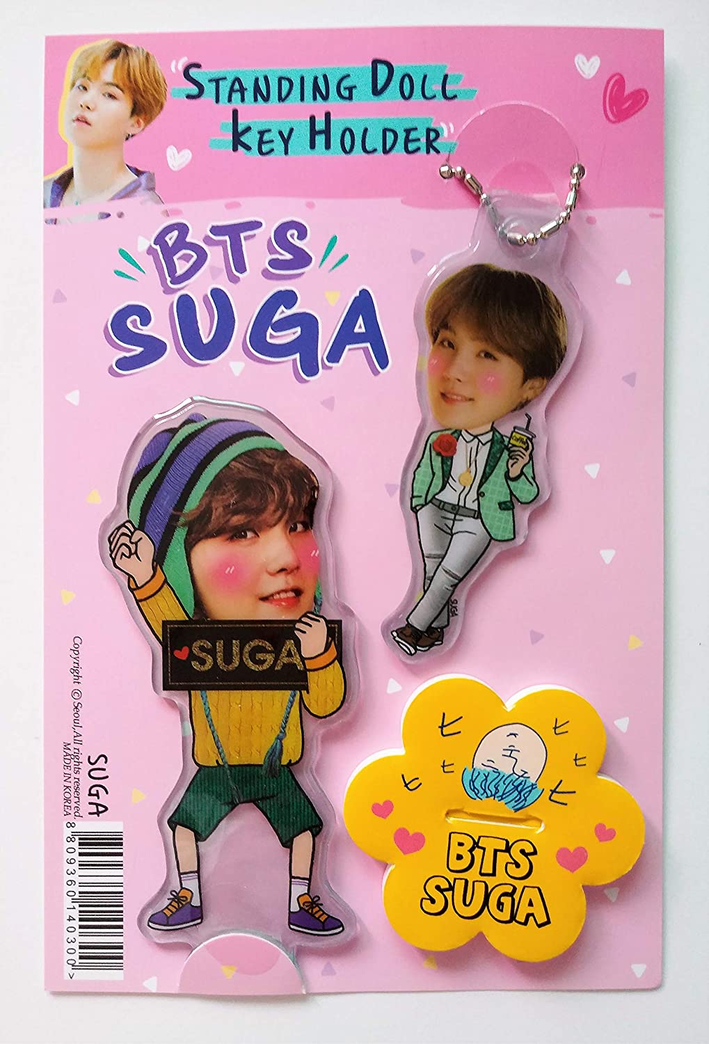 BTS Mini Stand-Up Standing Figure Standing Doll RM Key Ring Korean Name Tag Set