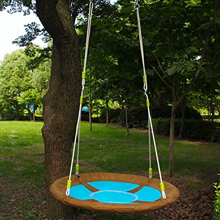 HAPPY PIE PLAY ADVENTURE HappyPie Oxford 40 Saucer Spinner Tree Hanging Swing – Outdoor Playground Set Blue