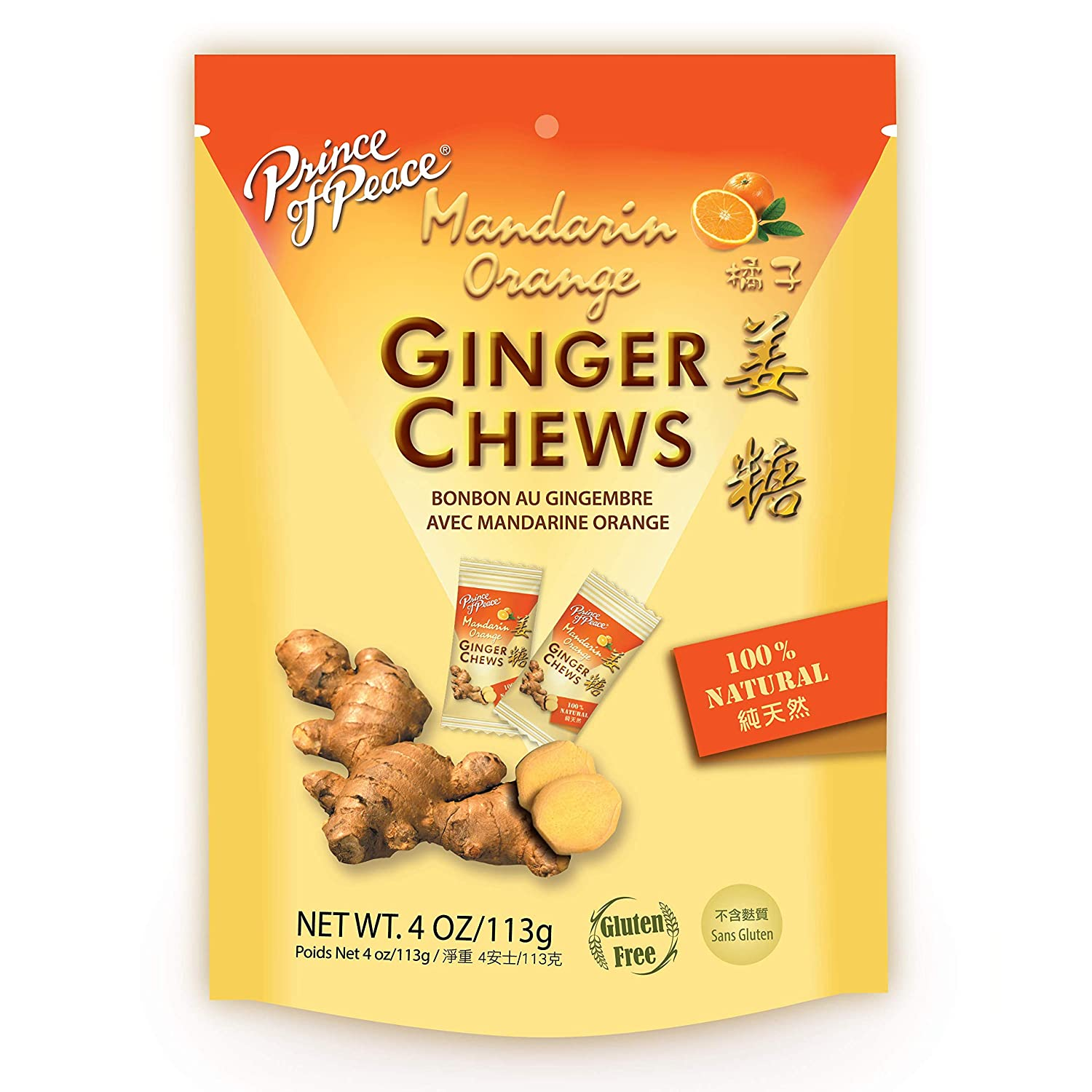 Prince of Peace Ginger Chews with Mandarin Orange, 4 oz. – Candied Ginger – Orange Candy – Orange Ginger Chews – Natural Candy – Ginger Candy for Nausea