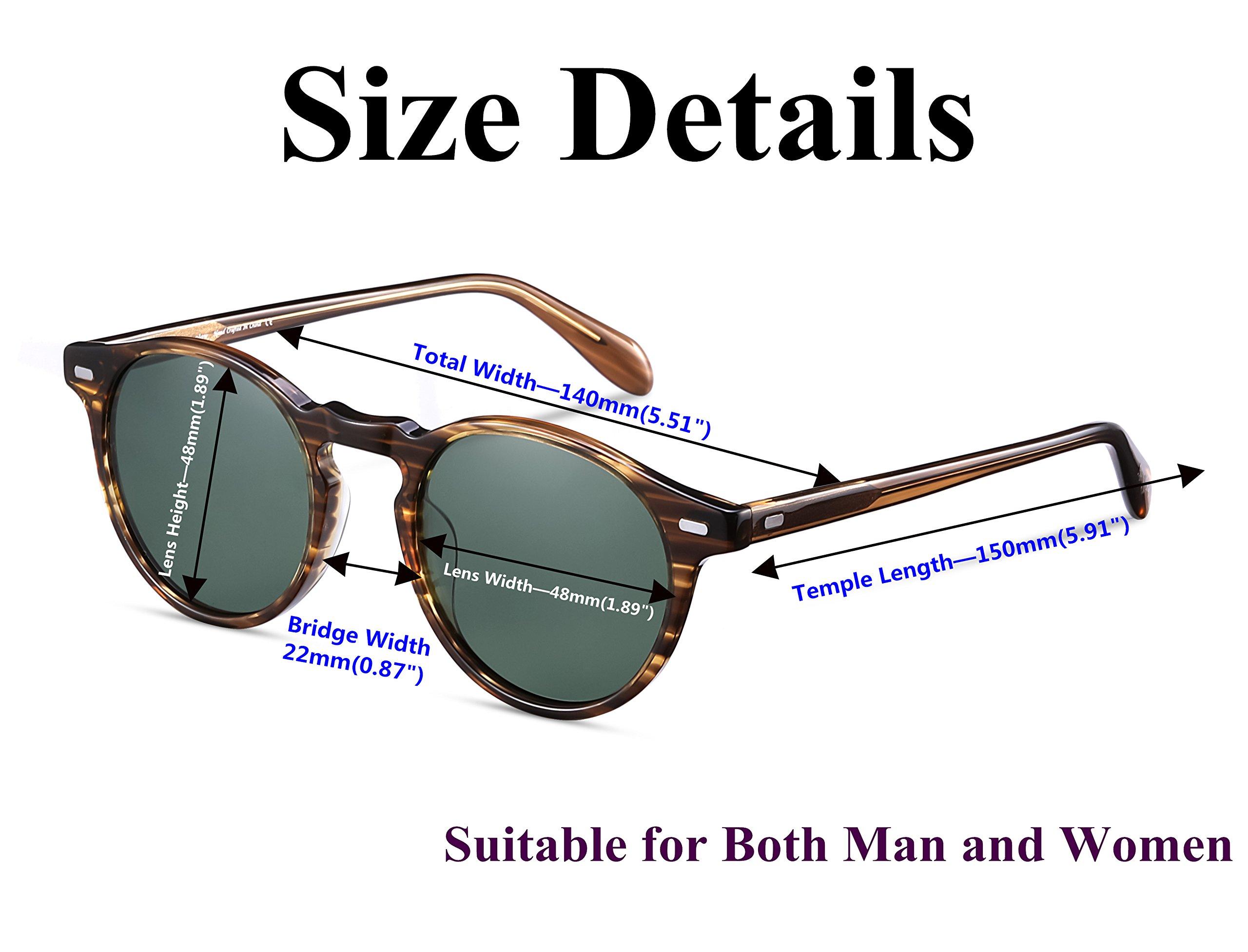 EyeGlow Vintage Round Sunglasses Women Sunglasses Men Polarized Lens 5187 Acetate material (Blonde vs green polarized lens, As pictures) by EyeGlow (Image #4)