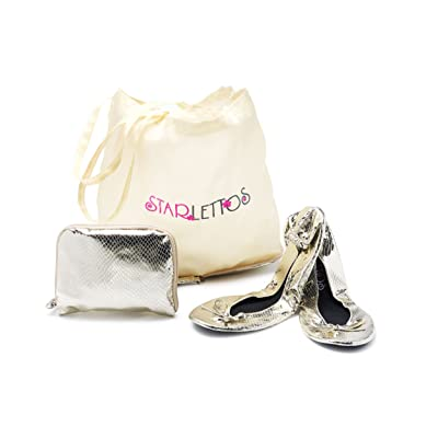 Foldable Ballet Flats - Cinderella Crystal Slippers to Carry You and Your High Heels Home Safely - Includes Ingenious Carry Pouch That Opens Into a Shoe Carrier (X-Large, Champagne) | Flats
