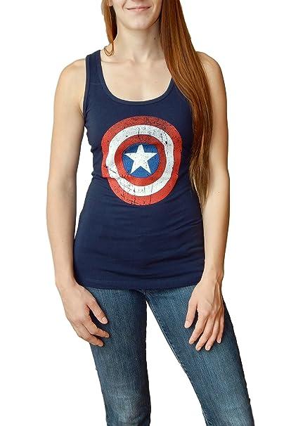 e18276557 Marvel Women's Captain America Distressed Shield Tank Top X-Small Deep Navy