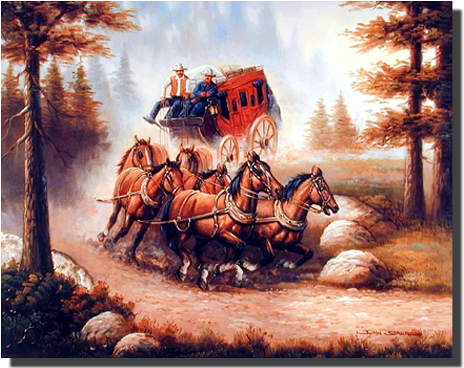 Western Wall Decor Cowboy With Old Red Stagecoach and Running Horses Art Print Poster (16x20)