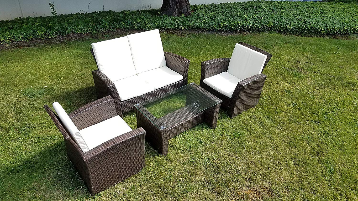 UFI 4pcs Outdoor Patio Furniture Sets Wicker Ratten Garden Sofa with Cushions and Glass Table RTA,Brown by UFI