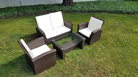 Amazon.com: UFI - Juego de 4 muebles de jardín de mimbre con ...
