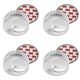 SEBSON Rauchwarnmelder mit 10 Jahre Lithium Batterie, inkl. Magnethalterung, DIN EN 14604 zertifiziert, Rauchmelder, 4er Set