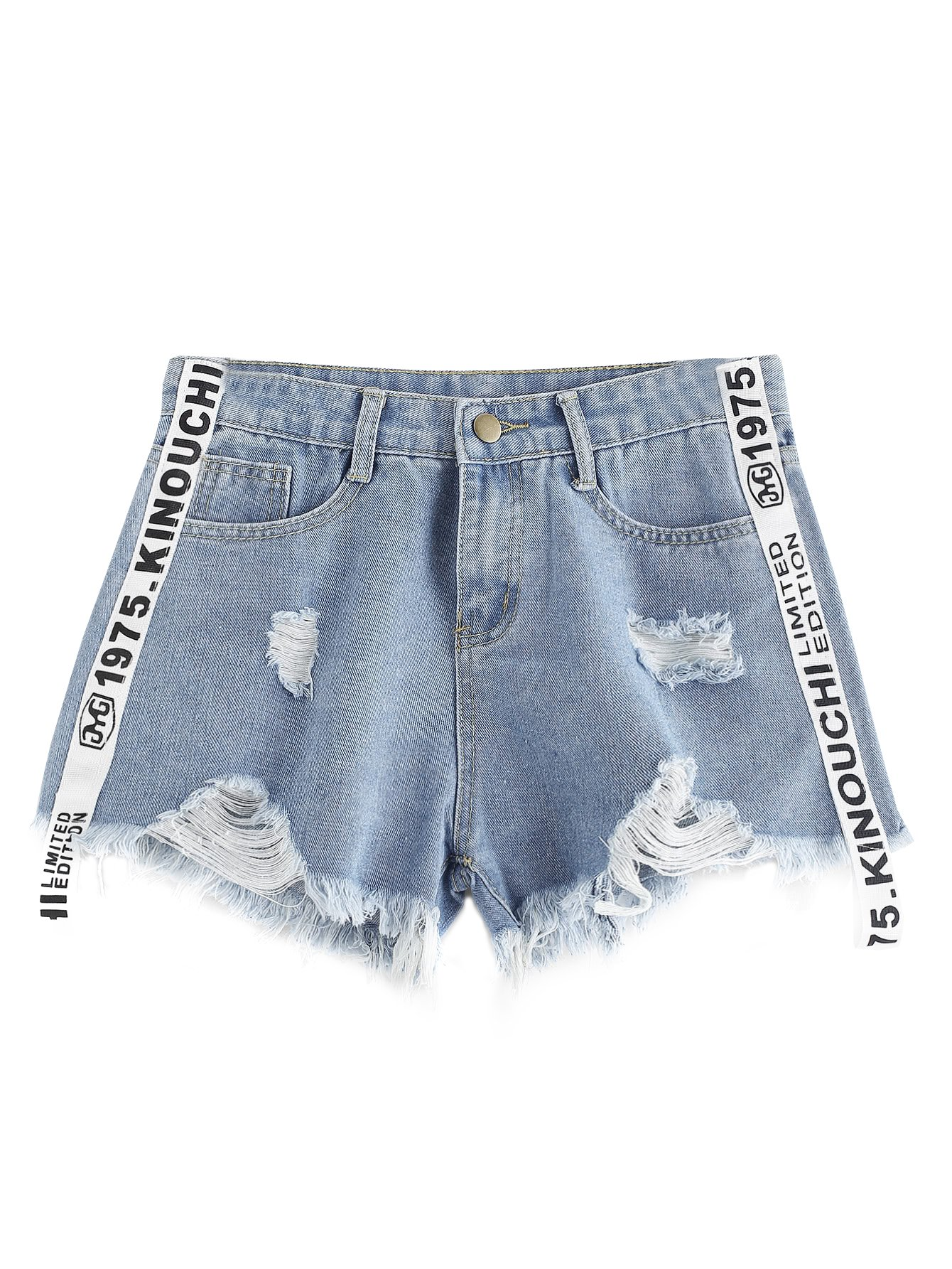 MakeMeChic Women's Bleached Frayed Raw Hem Ripped Pocket Distressed Jean Denim Shorts 9-Blue L