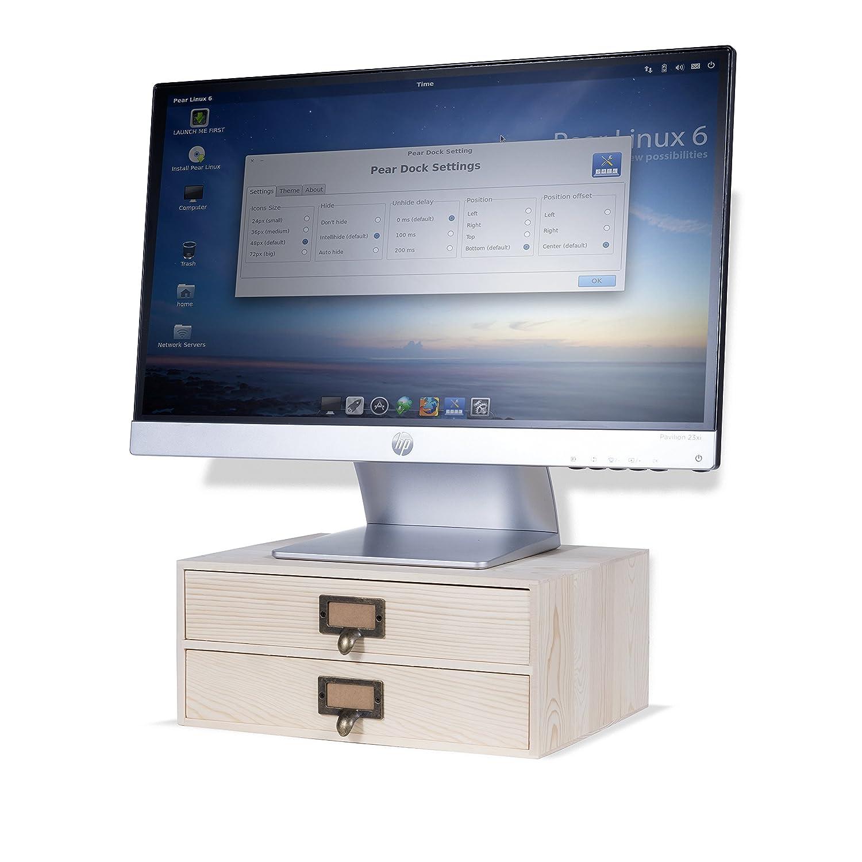 WALLNITURE Home Office 2 Drawer Desk Organizer Under Monitor Stand Printer  Platform Paper Holder Unfinished Wood Natural: Amazon.co.uk: Office Products