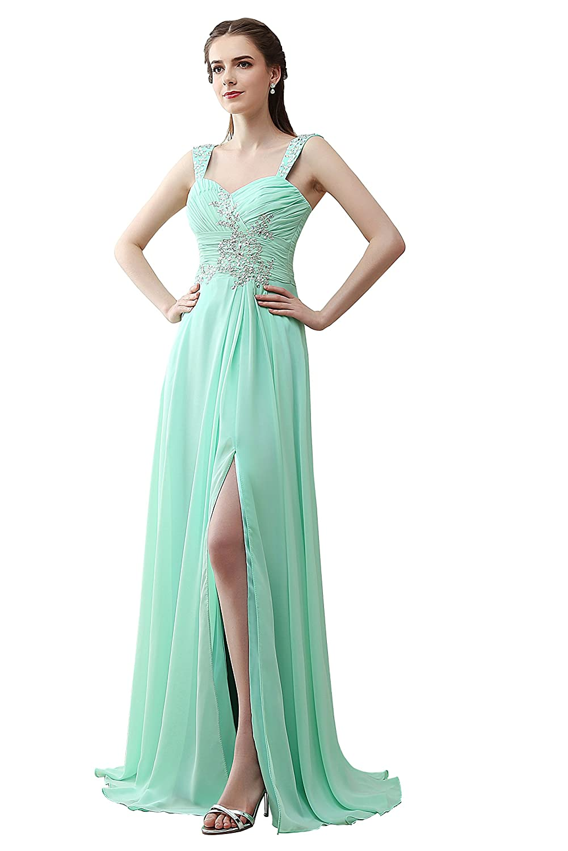 JinXuanYa? Women's Elegant Strapless Padded High Slit Maxi Sweetheart Dress B33