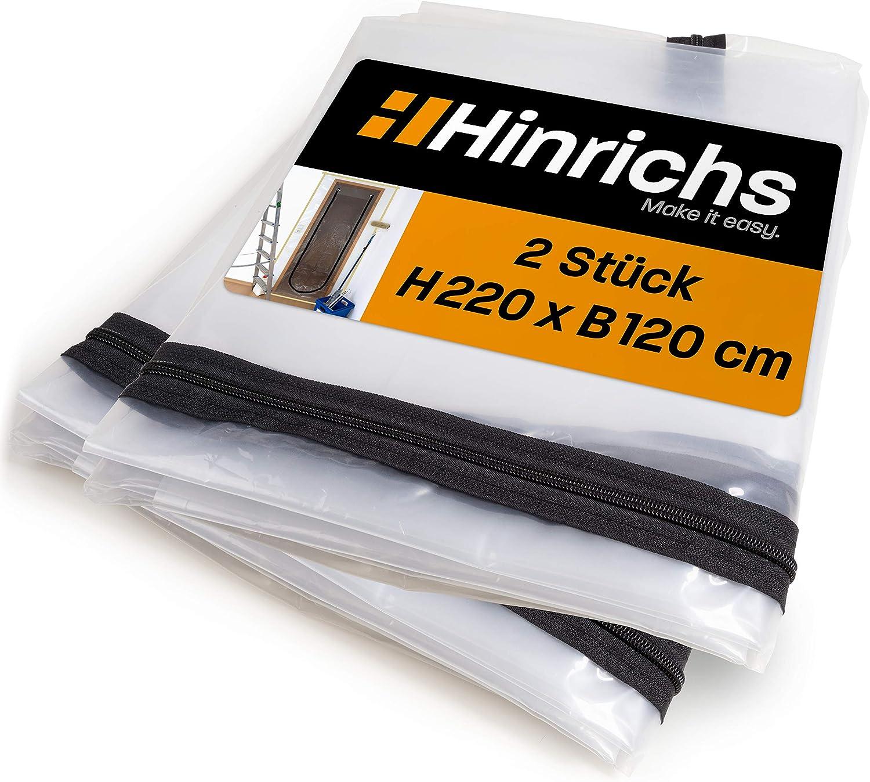 Hinrichs 2 x Puertas de protección contra el polvo con cremallera Puerta de protección contra el polvo transparente 220 x 120 cm gran puerta de construcción Para renovación rehabilitación