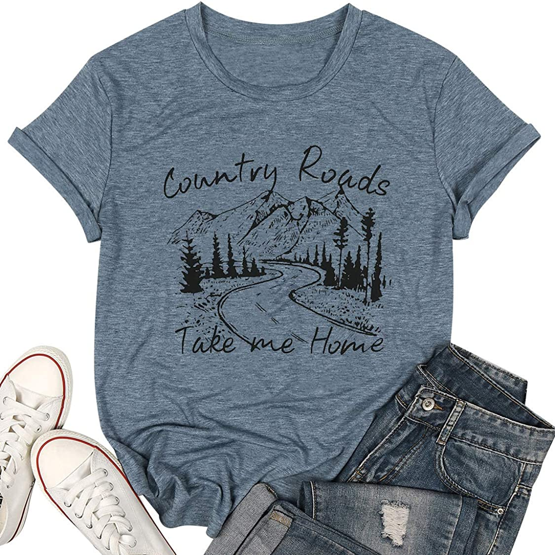 KIDDAD Womens Country Roads Take Me Home Shirt Letter Print Graphic T Shirt Country Music Casual Tees Tops Blouse