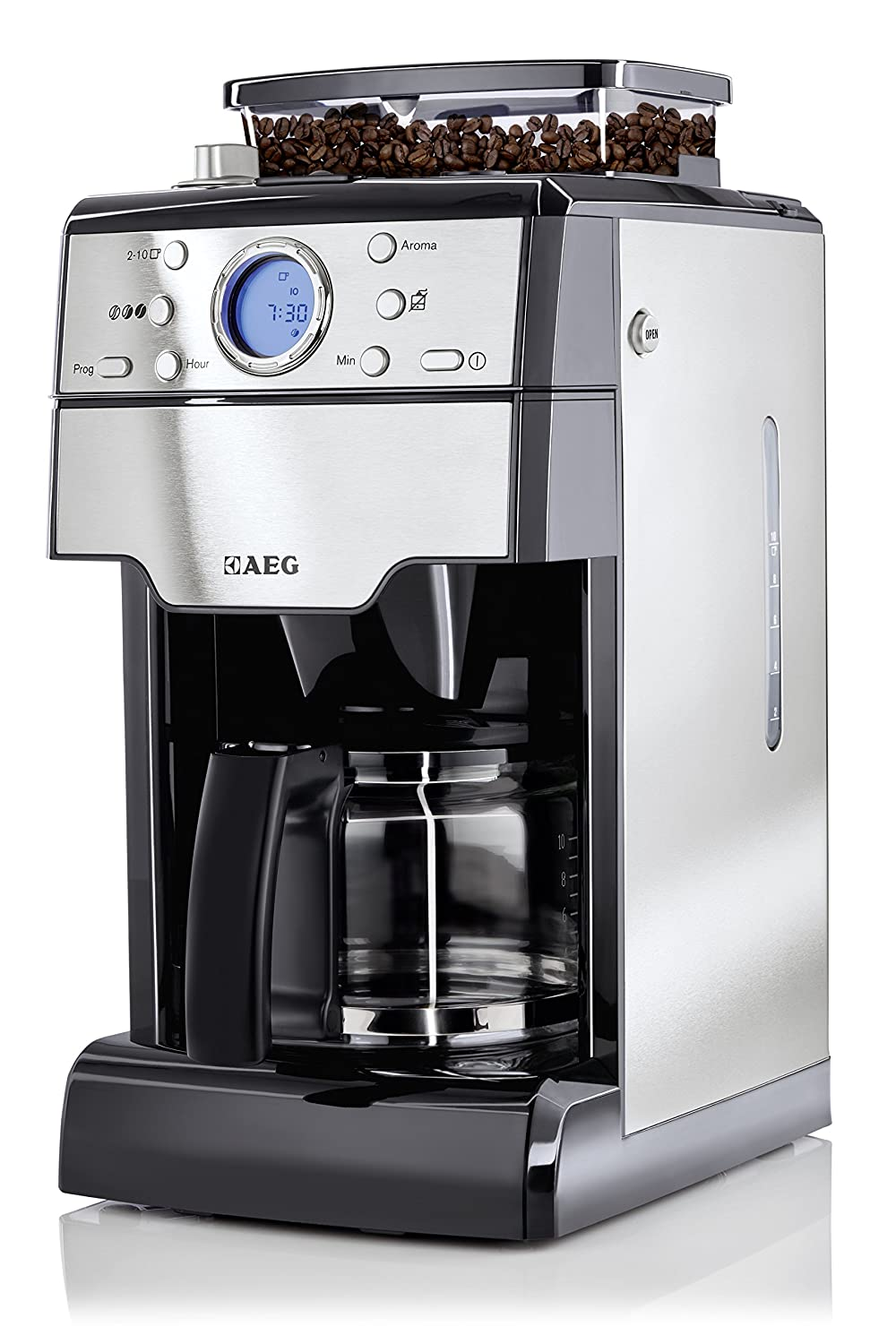 Aeg Kam300 Coffee Machine 1000 W With Built In Grinder Stainless Steel