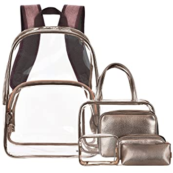 4e3f8bb37f8c NiceEbag 6 in 1 Clear Backpack with Cosmetic Bag Set Makeup Pouch Organizer