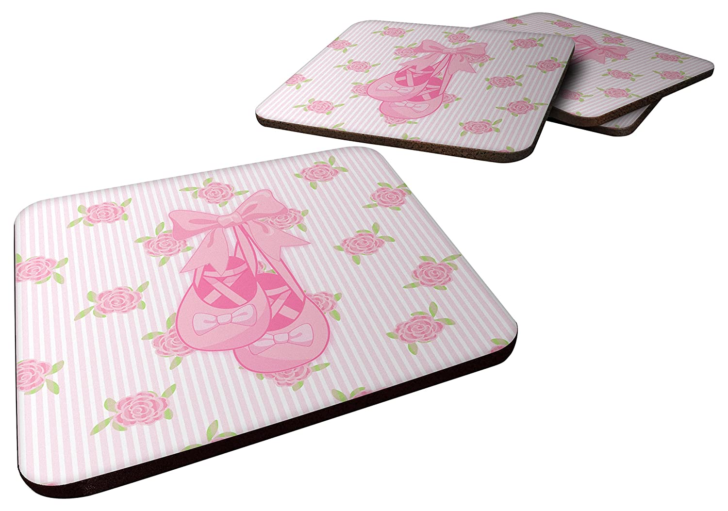 3.5 Carolines Treasures Ballerina Ballet Shoes Foam Coaster Set of 4 Multicolor