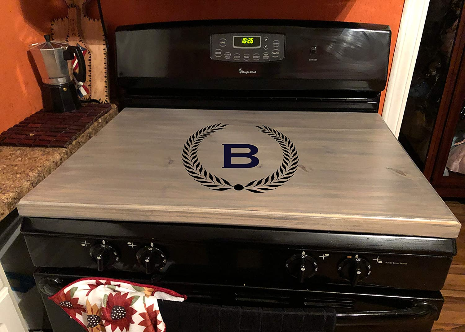latinos r us Stove Top Cover, Custom Wooden Stove Cover Personalized (Dark Walnut)